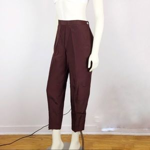 Vintage high waisted pleated silk blend cropped